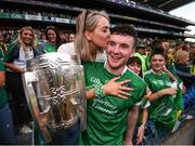 19 August 2018; Limerick captain Declan Hannon and his girlfriend Louise Cantillon celebrate with the Liam MacCarthy Cup following the GAA Hurling All-Ireland Senior Championship Final between Galway and Limerick at Croke Park in Dublin. Photo by Stephen McCarthy/Sportsfile