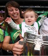 19 August 2018; 7-month-old Thomas Quaid and mother Alva celebrate with the Liam MacCarthy Cup following the GAA Hurling All-Ireland Senior Championship Final between Galway and Limerick at Croke Park in Dublin. Photo by Stephen McCarthy/Sportsfile