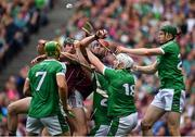 19 August 2018; Joseph Cooney and Johnny Glynn of Galway contest the sliothar with Limerick players, from left, Dan Morrissey, Richie McCarthy, Tom Condon and William O'Donoghue on the last play of the game during the GAA Hurling All-Ireland Senior Championship Final match between Galway and Limerick at Croke Park in Dublin.  Photo by Brendan Moran/Sportsfile