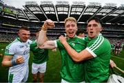 19 August 2018; Cian Lynch, left, and Darragh O'Donovan of Limerick celebrates following their victory in the GAA Hurling All-Ireland Senior Championship Final match between Galway and Limerick at Croke Park in Dublin.  Photo by Ramsey Cardy/Sportsfile