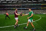 19 August 2018; Jonathan Glynn of Galway shakes hands with Dan Morrissey of Limerick following the GAA Hurling All-Ireland Senior Championship Final match between Galway and Limerick at Croke Park in Dublin.  Photo by Ramsey Cardy/Sportsfile