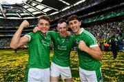 19 August 2018; David Reidy, left, Richie English, centre, and Barry Nash of Limerick following their victory in the GAA Hurling All-Ireland Senior Championship Final match between Galway and Limerick at Croke Park in Dublin.  Photo by Ramsey Cardy/Sportsfile