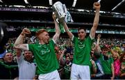 19 August 2018; Cian Lynch, left, and Diarmuid Byrnes of Limerick following their victory in the GAA Hurling All-Ireland Senior Championship Final match between Galway and Limerick at Croke Park in Dublin.  Photo by Ramsey Cardy/Sportsfile