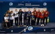 19 August 2018; Medallists in the Women's 4x100m Medley Relay 34pts from left, silver medallist Team Spain, gold medallist Team Great Britain, and bronze medallist Team Denmark, during day seven of the World Para Swimming Allianz European Championships at the Sport Ireland National Aquatic Centre in Blanchardstown, Dublin. Photo by David Fitzgerald/Sportsfile