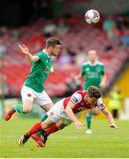 18 August 2018; Steven Beattie of Cork City in action against Dean Clarke of St. Patrick's Athletic during the SSE Airtricity League Premier Division match between Cork City and St Patrick's Athletic at Turner's Cross in Cork. Photo by John O'Brien/Sportsfile