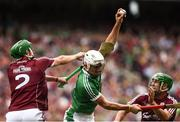 19 August 2018; Aaron Gillane of Limerick in action against Adrian Tuohy, left, and David Burke of Galway during the GAA Hurling All-Ireland Senior Championship Final between Galway and Limerick at Croke Park in Dublin. Photo by Stephen McCarthy/Sportsfile