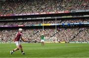 19 August 2018; Joe Canning of Galway takes a late free which dropped short during the GAA Hurling All-Ireland Senior Championship Final between Galway and Limerick at Croke Park in Dublin. Photo by Stephen McCarthy/Sportsfile