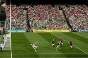 19 August 2018; Shane Dowling of Limerick shoots to score his side's third goal past Galway goalkeeper Fergal Flannery during the GAA Hurling All-Ireland Senior Championship Final between Galway and Limerick at Croke Park in Dublin. Photo by Stephen McCarthy/Sportsfile