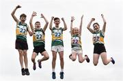 19 August 2018; The Killeigh, Co. Offaly, team, from left, Daniel Berry, Kevin Sweeney, Aaron Dunne, Sinead Walsh and Millie Daly, celebrate after winning the  U13 & O10 Mixed Relay event during day two of the Aldi Community Games August Festival at the University of Limerick in Limerick. Photo by Sam Barnes/Sportsfile