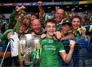 19 August 2018; David Reidy of Limerick celebrates with supporters following the GAA Hurling All-Ireland Senior Championship Final between Galway and Limerick at Croke Park in Dublin. Photo by Stephen McCarthy/Sportsfile