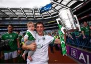 19 August 2018; Limerick goalkeeper Nickie Quaid celebrates with his 7-month-old nephew Thomas following the GAA Hurling All-Ireland Senior Championship Final between Galway and Limerick at Croke Park in Dublin. Photo by Stephen McCarthy/Sportsfile