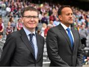 19 August 2018; Ard Stiúrthóir Tom Ryan, left, and An Taoiseach Leo Varadkar, T.D. prior to the Electric Ireland GAA Hurling All-Ireland Minor Championship Final match between Kilkenny and Galway at Croke Park in Dublin. Photo by Seb Daly/Sportsfile