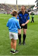 19 August 2018; Ciarán Hickey of St. Leonard's NS, Dunnamaggin NS, Co. Kilkenny, presents the Sliothar to referee Johnny Murphy prior to the Electric Ireland GAA Hurling All-Ireland Minor Championship Final match between Kilkenny and Galway at Croke Park in Dublin. Photo by Seb Daly/Sportsfile