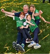 19 August 2018; Limerick manager John Kiely celebrates with his family, wife Loise, and daughters Aoife, left, and Ruth, following the GAA Hurling All-Ireland Senior Championship Final match between Galway and Limerick at Croke Park in Dublin.  Photo by Seb Daly/Sportsfile