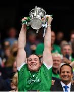 19 August 2018; Shane Dowling of Limerick lifts the Liam MacCarthy Cup following the GAA Hurling All-Ireland Senior Championship Final match between Galway and Limerick at Croke Park in Dublin.  Photo by Seb Daly/Sportsfile