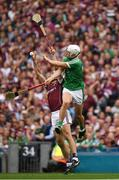 19 August 2018; Daithí Burke of Galway in action against Aaron Gillane of Limerick during the GAA Hurling All-Ireland Senior Championship Final match between Galway and Limerick at Croke Park in Dublin.  Photo by Ray McManus/Sportsfile
