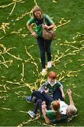 19 August 2018; Limerick manager John Kiely celebrates with his wife Louise and daughters Aoife and Ruth, after the GAA Hurling All-Ireland Senior Championship Final match between Galway and Limerick at Croke Park in Dublin. Photo by Daire Brennan/Sportsfile