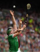 19 August 2018; Shane Dowling of Limerick in action against Joseph Cooney of Galway during the GAA Hurling All-Ireland Senior Championship Final match between Galway and Limerick at Croke Park in Dublin.  Photo by Piaras Ó Mídheach/Sportsfile