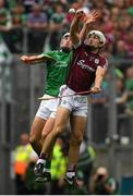 19 August 2018; Daithí Burke of Galway in action against Aaron Gillane of Limerick during the GAA Hurling All-Ireland Senior Championship Final match between Galway and Limerick at Croke Park in Dublin.  Photo by Piaras Ó Mídheach/Sportsfile