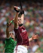 19 August 2018; Jonathan Glynn of Galway in action against Darragh O'Donovan of Limerick during the GAA Hurling All-Ireland Senior Championship Final match between Galway and Limerick at Croke Park in Dublin.  Photo by Piaras Ó Mídheach/Sportsfile