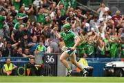 19 August 2018; Shane Dowling of Limerick celebrates scoring his side's third goal during the GAA Hurling All-Ireland Senior Championship Final match between Galway and Limerick at Croke Park in Dublin.  Photo by Piaras Ó Mídheach/Sportsfile