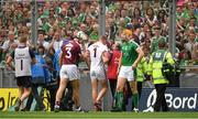 19 August 2018; Galway goalkeeper James Skehill leaves the field after picking up an injury during the GAA Hurling All-Ireland Senior Championship Final match between Galway and Limerick at Croke Park in Dublin.  Photo by Piaras Ó Mídheach/Sportsfile