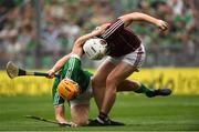 19 August 2018; John Hanbury of Galway in action against Tom Morrissey of Limerick during the GAA Hurling All-Ireland Senior Championship Final match between Galway and Limerick at Croke Park in Dublin.  Photo by Piaras Ó Mídheach/Sportsfile