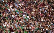 19 August 2018; Joe Canning of Galway takes a free, watched by spectators in the Hogan Stand, during the GAA Hurling All-Ireland Senior Championship Final match between Galway and Limerick at Croke Park in Dublin.  Photo by Piaras Ó Mídheach/Sportsfile