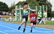 19 August 2018; Fergal O'Toole of Tullow Grange, Co. Carlow, celebrates winning the U10 & O8 Mixed Relay event during day two of the Aldi Community Games August Festival at the University of Limerick in Limerick. Photo by Sam Barnes/Sportsfile
