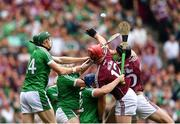 19 August 2018; Jonathan Glynn of Galway fails to catch a high ball put into the square by Joe Canning of Galway in the last seconds of the game during the GAA Hurling All-Ireland Senior Championship Final match between Galway and Limerick at Croke Park in Dublin.  Photo by Eóin Noonan/Sportsfile
