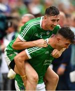 19 August 2018; Diarmaid Byrnes, left, celebrates with Aaron Gillane of Limerick following the GAA Hurling All-Ireland Senior Championship Final match between Galway and Limerick at Croke Park in Dublin.  Photo by Eóin Noonan/Sportsfile
