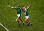 19 August 2018; Diarmaid Byrnes, left, and Dan Morrissey of Limerick celebrate after the GAA Hurling All-Ireland Senior Championship Final match between Galway and Limerick at Croke Park in Dublin. Photo by Daire Brennan/Sportsfile