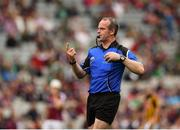 19 August 2018; Referee Johnny Murphy during the respect handshake prior to the Electric Ireland GAA Hurling All-Ireland Minor Championship Final match between Kilkenny and Galway at Croke Park in Dublin. Photo by Seb Daly/Sportsfile