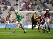 19 August 2018; Niamh Mooney, Aughamore NS, Ballyhaunis, Mayo, representing Limerick, and Ciara Ryan, Mercy Convent NS, Naas, Co Kildare, representing Galway, during the INTO Cumann na mBunscol GAA Respect Exhibition Go Games at the GAA Hurling All-Ireland Senior Championship Final match between Galway and Limerick at Croke Park in Dublin. Photo by Ray McManus/Sportsfile