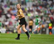 19 August 2018; Referee Megan O'Leary, Griffeen Vally Educate Toether NS, Lucan, Co Dublin, during the INTO Cumann na mBunscol GAA Respect Exhibition Go Games at the GAA Hurling All-Ireland Senior Championship Final match between Galway and Limerick at Croke Park in Dublin. Photo by Ray McManus/Sportsfile
