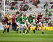 19 August 2018; Niamh Mooney, Aughamore NS, Ballyhaunis, Mayo, representing Limerick, and Katelyn Shore, Paddock NS, Mountrath, Co Laois, representing Galway, during the INTO Cumann na mBunscol GAA Respect Exhibition Go Games at the GAA Hurling All-Ireland Senior Championship Final match between Galway and Limerick at Croke Park in Dublin. Photo by Ray McManus/Sportsfile