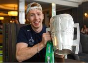 20 August 2018; Cian Lynch with the Liam MacCarthy Cup at the Limerick team hotel, Citywest Hotel, Dublin. Photo by Piaras Ó Mídheach/Sportsfile