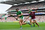 19 August 2018; Darragh O'Donovan of Limerick in action against David Burke of Galway during the GAA Hurling All-Ireland Senior Championship Final match between Galway and Limerick at Croke Park in Dublin.  Photo by Brendan Moran/Sportsfile