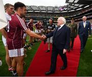 19 August 2018; The President of Ireland Michael D Higgins meets David Burke of Galway prior to the GAA Hurling All-Ireland Senior Championship Final between Galway and Limerick at Croke Park in Dublin. Photo by Stephen McCarthy/Sportsfile