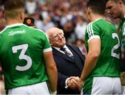 19 August 2018; The President of Ireland Michael D Higgins meets Seán Finn of Limerick prior to the GAA Hurling All-Ireland Senior Championship Final between Galway and Limerick at Croke Park in Dublin. Photo by Stephen McCarthy/Sportsfile