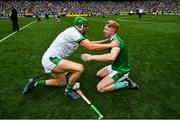 19 August 2018; Nickie Quaid, left, and Cian Lynch of Limerick celebrate following their victory in the GAA Hurling All-Ireland Senior Championship Final match between Galway and Limerick at Croke Park in Dublin.  Photo by Ramsey Cardy/Sportsfile
