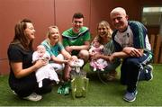 20 August 2018; Team captain Declan Hannon and manager John Kiely, with, from left, Sally Flanagan, and her daughter, Sadie O'Brien, age 20 days, from Cork, Liam Twomey, from Dublin, with his nurse Niamh Collins, and Sarah and Molly Walsh, from Tipperary, during the All-Ireland Senior Hurling Championship winners visit to Our Lady's Children's Hospital Crumlin, Dublin. Photo by Piaras Ó Mídheach/Sportsfile