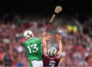 19 August 2018; Aaron Gillane of Limerick and Daithí Burke of Galway during the GAA Hurling All-Ireland Senior Championship Final between Galway and Limerick at Croke Park in Dublin. Photo by Stephen McCarthy/Sportsfile