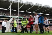 19 August 2018; James Skehill of Galway leaves the pitch after picking up an injury during the GAA Hurling All-Ireland Senior Championship Final between Galway and Limerick at Croke Park in Dublin. Photo by Stephen McCarthy/Sportsfile