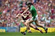 19 August 2018; Declan Hannon of Limerick in action against Conor Whelan of Galway during the GAA Hurling All-Ireland Senior Championship Final match between Galway and Limerick at Croke Park in Dublin.  Photo by Brendan Moran/Sportsfile
