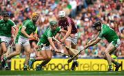 19 August 2018; Joe Canning of Galway in action against Limerick players, from left, Richie English, Seán Finn and Declan Hannon during the GAA Hurling All-Ireland Senior Championship Final match between Galway and Limerick at Croke Park in Dublin. Photo by Brendan Moran/Sportsfile