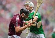 19 August 2018; Aidan Harte of Galway in action against Cian Lynch of Limerick during the GAA Hurling All-Ireland Senior Championship Final match between Galway and Limerick at Croke Park in Dublin.  Photo by Brendan Moran/Sportsfile