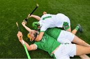 19 August 2018; Tom Morrissey, left, and Nickie Quaid of Limerick celebrate following the GAA Hurling All-Ireland Senior Championship Final match between Galway and Limerick at Croke Park in Dublin. Photo by Ramsey Cardy/Sportsfile