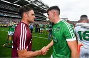19 August 2018; David Burke of Galway shakes hands with Aaron Gillane of Limerick following the GAA Hurling All-Ireland Senior Championship Final match between Galway and Limerick at Croke Park in Dublin.  Photo by Ramsey Cardy/Sportsfile