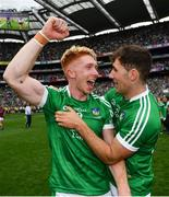 19 August 2018; Cian Lynch, left, and Barry Nash of Limerick celebrate following the GAA Hurling All-Ireland Senior Championship Final match between Galway and Limerick at Croke Park in Dublin.  Photo by Ramsey Cardy/Sportsfile